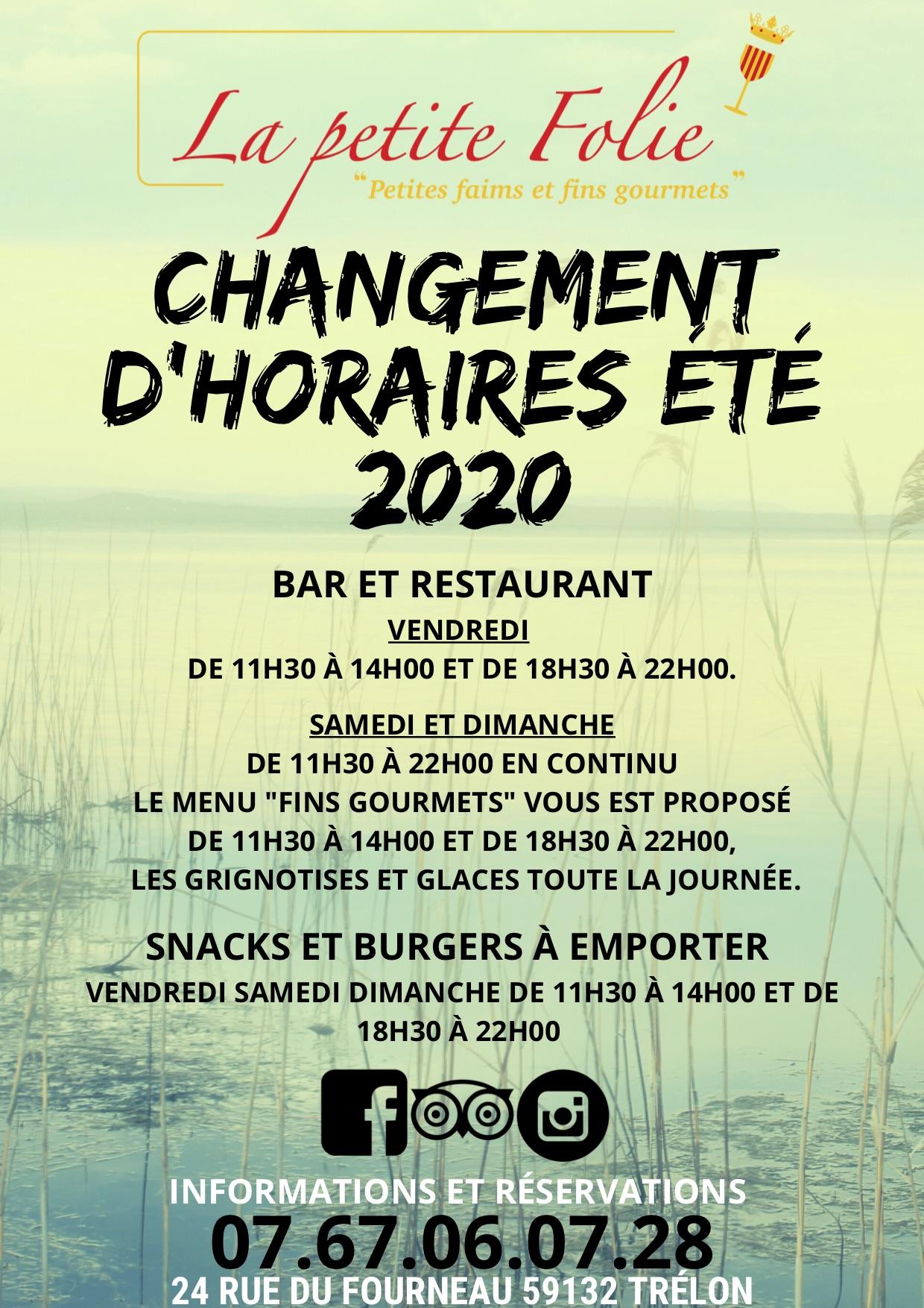 NOUVEAUX HORAIRES ETE 2020